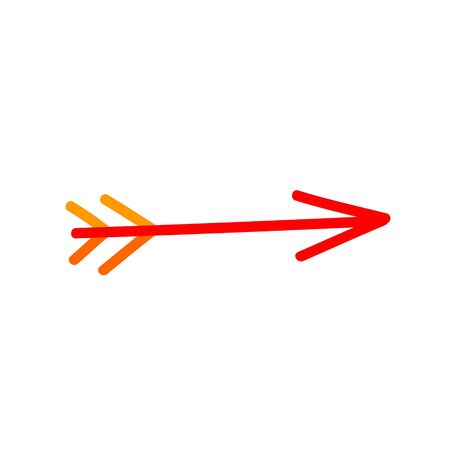 Handwritten with a marker arrow for bow red. Felt pen abstract icon, sign. Ilustração