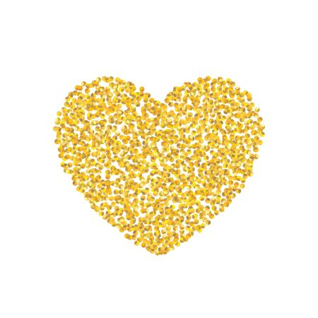 Backdrop Golden texture crumbs heart shaped. Gold dust scattering on a white background. Particles grain or sand assembled. Vector shards, pieces abstraction. Illustration grunge textures for design.
