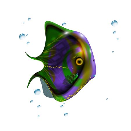 Glossy green little 3d fish. Cartoon funny illustration of sea animal. Marine stock optimized from to be used in aqua banners design, this illustration of a happy cartoon character.