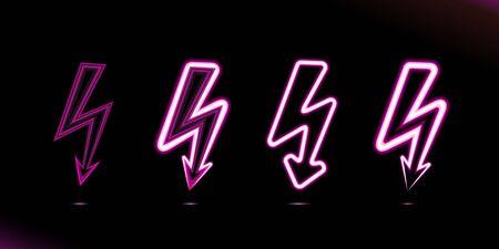 Set Flash lightnings pink glowing neon lamp icon, sign, button light, power symbols for design on black background. Modern fluorescent object. Dark vector luminescent illumination, illustration Ui.