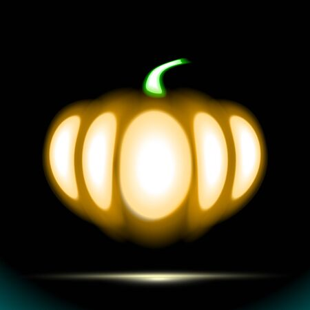 Glow Isolated neon sign of Pumpkin logo for night template decoration covering on black background. Concept of Halloween or Thanksgiving day. Signboard shiny light plant. Vector Illustration. Ilustração