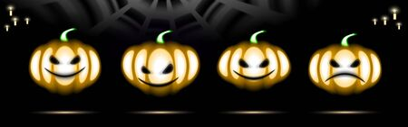 Halloween Holiday Set Glow Pumpkins neon icon. Led light design Thanksgiving day. Isolated signs for Banner covering on black background. Masks glow night signboard. Plant vector Illustration. Ilustração