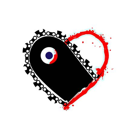 Blood red splatter and black chainsaw heart vector black icon, Love symbol. Saw in heart. Valentines day sign, emblem, Flat style for graphic and web design, logo.