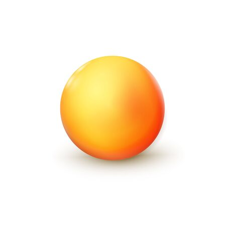 Sphere, orange ball. Mock up of clean round the realistic object, orb icon. Design decoration round shape, geometric simple, figure circle form. Isolated on white background, vector illustration. Eps10. Banque d'images - 131950892