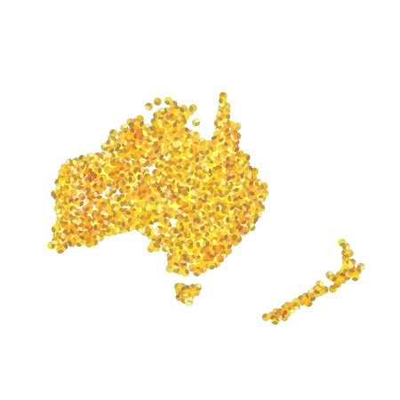 Map of Australia Backdrop plume golden texture crumbs. Gold dust scattering on a white background. Sand particles grain or sand assembled.