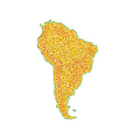 Map of South America Backdrop plume golden texture crumbs. Gold dust scattering on white background. Sand particles grain or sand assembled. Vector backdrop dune, pieces illustration for design.