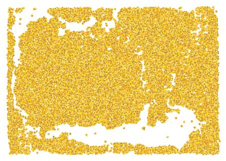 Backdrop crumble sheet golden texture. Gold dust scattering on a white background. Abstraction pieces sand particles grain or sand assembled. Vector banner illustration grunge design. Vintage Eps10.