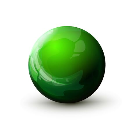 Sphere with reflected light, green ball. Mock up of round the realistic glossy object, orb icon. Design geometric shape, figure circle form. Isolated on white background, vector illustration. Eps10.