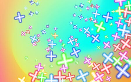 Childish Mottled multicolored plusses, background colorful. Design educational toys. Business growth sales shop childrens. Plus, multicolor abstract. Mathematical symbols. Vector illustration. EPS10. 写真素材
