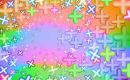 Childish Mottled multicolored plusses, background colorful. Design educational toys. Business growth sales shop childrens. Plus, multicolor abstract. Mathematical symbols. Vector illustration. EPS10. Reklamní fotografie