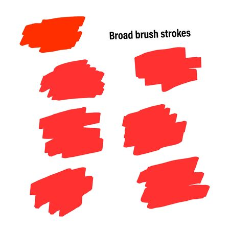 A set of templates of the imitation strokes by a wide brush or the platen for backdrop. Paint design acrylic brushstroke. Red, use in any color isolated on light background. Ilustração