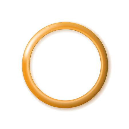 One ring lies golden, wedding gold with blending texture color and shadows isolated on white background. Vector illustration.