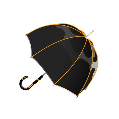 Black orange umbrella. Protection against bad weather from futuristic materials. Realistic vectors illustration of modern opened umbrella, isolated.  イラスト・ベクター素材