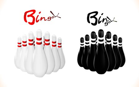 Set Pins, skittles for Bowling. Black and white. Illustration vector equipment for leisure activity and sport. Eps10.