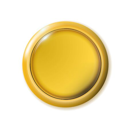 Realistic matte gold button. Metal circle Ui component. Vector illustration for your design.