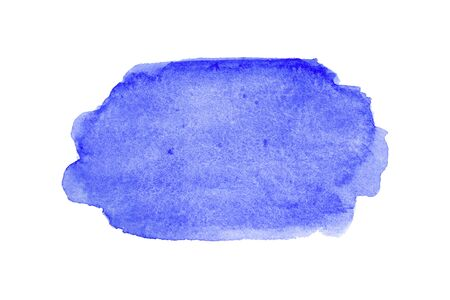 Blue wide watercolor brushstroke backdrop. Hand drawn water strokes, paper texture, isolated spot on white background. Wet brush painted smudge abstract illustration. Design artistic template.