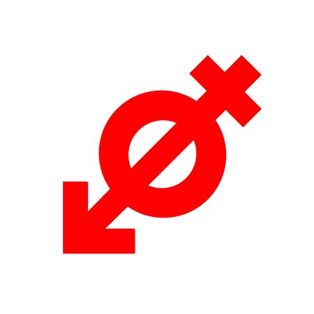 Anti gender, antisexuality symbol, red icon. Concept movement of fighters for genderless relationship on white background. Abstract Vector sign illustration. Eps 10.