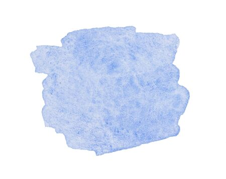 Blue wide of a watercolor brushstroke backdrop. Hand drawn water strokes, paper texture, isolated spot on white background. Wet brush painted smudge abstract illustration. Design artistic template.