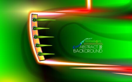 Abstract background futuristic bionical technology transport industry. Layout cover glowing design alternative energy technology, biofuel hi-tech, color corporate green illustration. Techno vector. Illustration