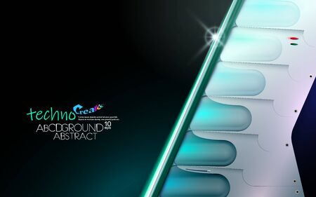 Neon glowing hi-tech futuristic abstract background. Design Sample of technology of the future or extraterrestrial. Layout cover blue and black, vector illustration. Metal construction shuttle. Eps10