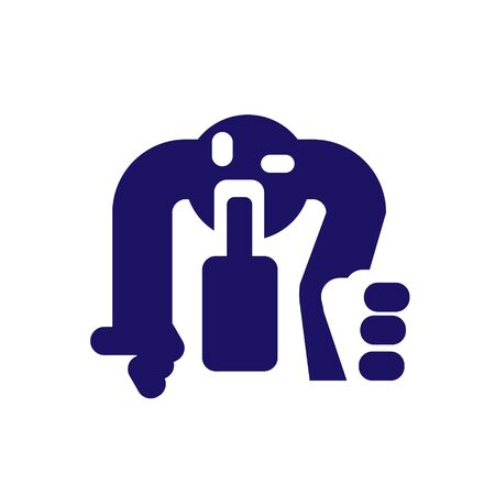 Icon a drunk man crawling on his knees for a bottle of alcohol, signs, Vector illustration for print or website design.