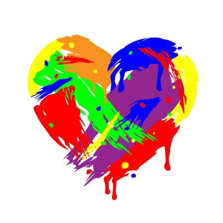 Heart folded of brush strokes. Flowing and Dripping paint. Multicolor design isolated on light background. Art for Valentines day. Acrylic layered colorful painting. Chaotic vector illustration Eps 10 Ilustracja