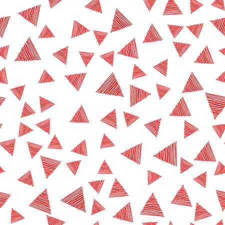 Seamless pattern scribble hatching along the triangles. Diagonal red hand drawn symbols. Sketches geometric and hatched badges and stroke shapes. Vector design elements.