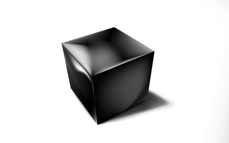 Mockup of blank glossy black cube or box 3d. Icon abstract symbol. Template vector illustration for design and branding. Eps 10. Ilustração