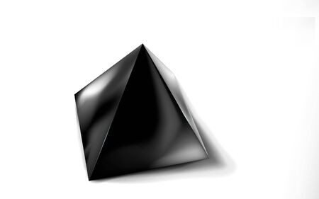 Mockup of blank glossy black pyramid or polyhedron 3d. Icon abstract symbol. Template vector illustration for design and branding. Eps 10. Ilustração