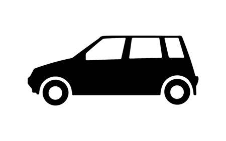 Big black car side view icon. Sport car, sedan, small mini avto and city automobile.