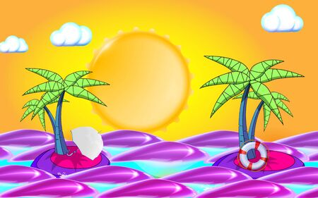 Summer background with sea, sun, waves and palm tree leafs. Summer travel holidays elements: lifebuoy and umbrella. Vector illustration Eps 10.