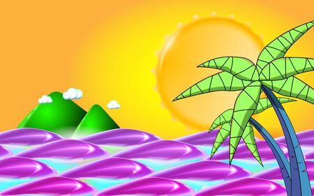 Summer background with sea, sun, waves and palm tree leafs. Summer travel holidays. Vector illustration Eps 10. Ilustração