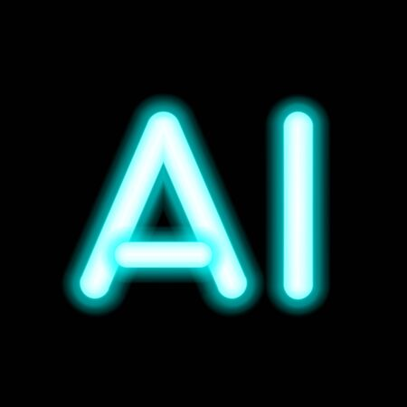 AI Letter Artificial Intelligence . Neon lamp inscription, high-tech information computer technology. Glowing isolated on black background. Fluorescent vector, luminescent illumination, illustration. Ilustração