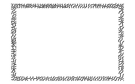 Scribble thick wavy hatching along the rim frame rectangle. Hand drawn curly worms. Sketches shaded and hatched, stroke shapes. Monochrome vector design elements. Isolated illustration. EPS 10.