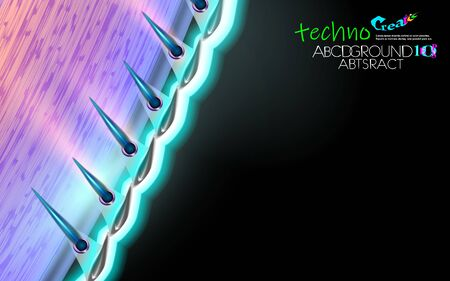Neon glowing hi-tech futuristic abstract background. Design curved Sample of extraterrestrial technology. Layout cover blue and black, dark vector illustration. Eps10. Edge material UFO future concept
