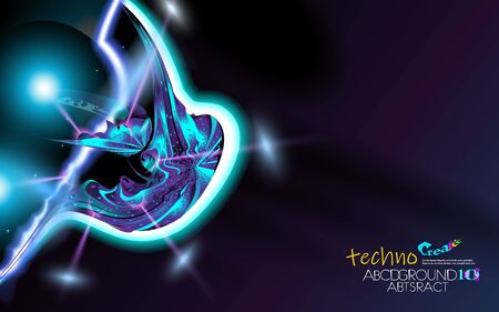 Neon glowing hi-tech futuristic abstract background. Design Sample of alien technology. Layout cover violet and black corporate technology. Vector futuristic backdrop art illustration. Eps 10. Ilustração