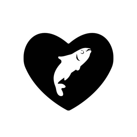 Heart vector black icon, Love symbol. Fish in heart. Valentines day sign, emblem, Flat style for graphic and web design, logo fishing