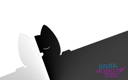 Abstract minimal cat contrast white or black background. Concept semitone vector. Delicate nuance of muted shade, geometric art gradient piece. Illustration. Eps 10. Cute light kitty style for design