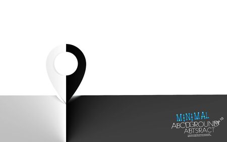 Map pointer minimal contrast white or black background. GPS location symbol concept semitone vector. Delicate nuance of muted shade, geometric art gradient piece. Illustration. Eps 10. Flat design
