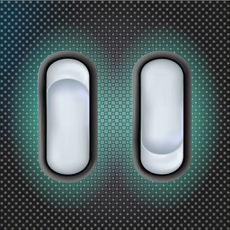 Set Realistic 3d white toggle switches. On and off. Plastic switcher design. Vector illustration