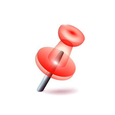 Transparent red pushpin on white background, office object. Reddish thumbtack. Business Vector illustration. Isolated close up.