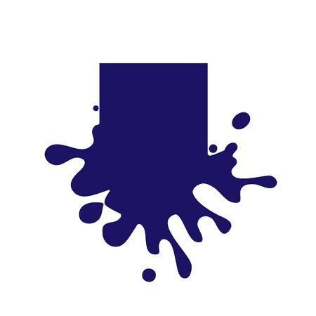 Dripping square dark blue icon. Liquid paint flows. Melted logo. Current paint, stains. Mockup of blank. Template ink blot. Vector illustration isolated figure.