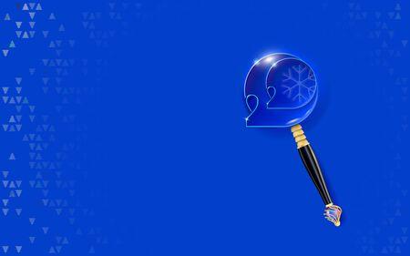 Fondo blu del nuovo anno. 2020 iscrizione sottile sul blu. Design allegro con numeri intagliati in rilievo. Lente d'ingrandimento dorata intarsiata con perle. Invito banner vacanza.