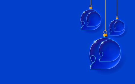 New year blue background with Christmas balls. Bubbles inlaid with 2020 thin inscription. Happy design with embossed carved numbers. Holiday banner, invitation.
