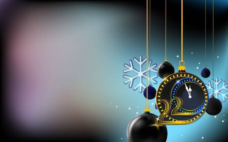 New year dark background with merry Christmas balls. Bubbles inlaid with 2020 thin inscription. Design gold and black colors, place for text. Holiday banner, invitation.