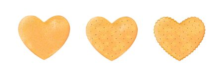 Set heart realistic, crackers. Chips hearts shape isolated on white background for love or Valentines day. Design biscuit for breakfast and tasty snack, holiday food. Vector illustration Eps 10.