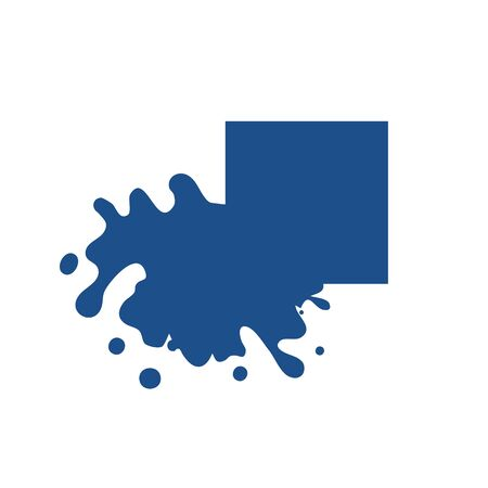 Splash square classic blue color icon. Melted corner Dripping. Liquid paint flows. Current paint, stains. Mockup of blank ink blot. Vector illustration isolated figure. Eps 10 for design and branding.