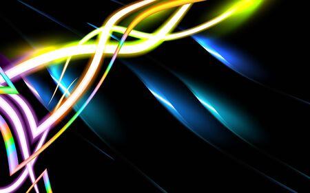 Neon leuchtender High-Tech-futuristischer abstrakter Hintergrund, Designkonzept der Gentechnik, Analyse-DNA-Molekül, Glasfasertechnologie. Mehrfarbige und schwarze Abbildung. Biotechnologie-Vektor.