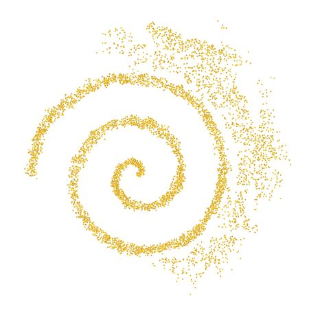 Background plume golden texture spiral crumbs. Gold dust scattering on a white background. Sand particles grain or sand assembled. Vector backdrop dune, pieces abstraction. Illustration grunge design.