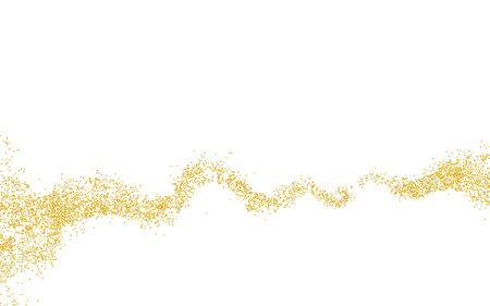 Bande ondulée horizontale parsemée de miettes de texture dorée. Arrière-plan Poussière d'or sur fond blanc. Grain de particules de sable ou sable. Toile de fond vecteur chemin doré pièces grunge pour illustration de conception.